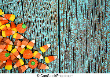 candy corn on turquoise wood
