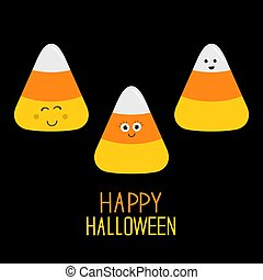 Candy corn set with funny faces. Happy Halloween card. Flat design.