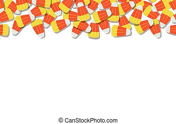 Candy Corn Top Background Repeating Horizontal Vector Illustration