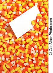 candy corn with blank card