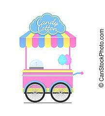 Candy Cotton Wagon Colorful Vector Illustration - Candy...