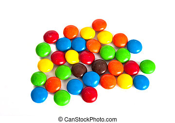 Candy Covered Chocolate on a white Background