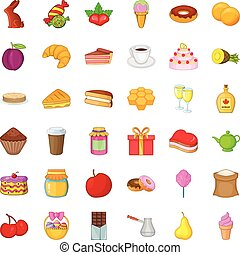 Candy dessert icons set, cartoon style