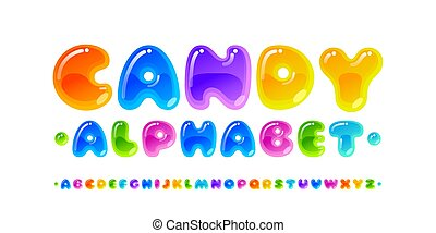 Candy font. Transparent glossy multicolored vector uppercase alphabet isolated on white background. RGB. Global colors