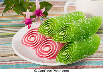 candy fruit on a plate