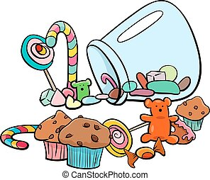candy group cartoon illustration