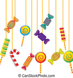 candy hanging off rope over white background. vector...