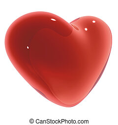 Candy Heart - 3D Render of Red heart on white background