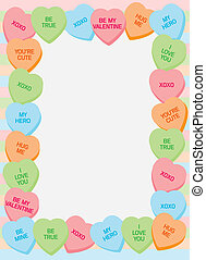 Border made of candy heart illustrations with popular phrases of love and fondness.