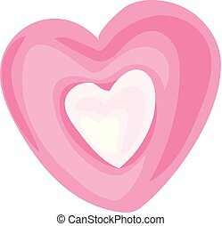 Candy heart icon, cartoon style - Candy heart icon. Cartoon...