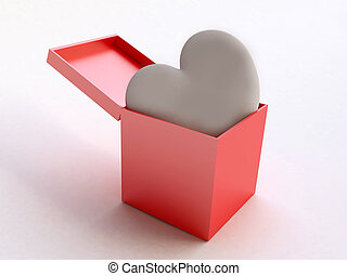 Candy Heart in Red Gift Box - 3D White Candy Heart in Red...