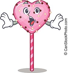 Candy heart lollipop mascot design concept with a surprised gesture