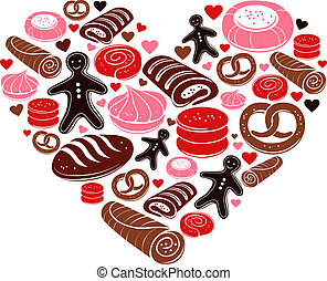 Candy heart. Set of sweet bakery icons