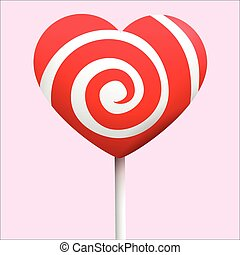Candy heart vector - Candy heart with red and white colors...