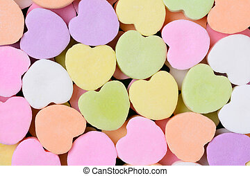 Candy Hearts Macro - Macro shot of pastel candy hearts for...