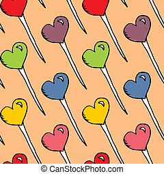 candy hearts pattern vector. Seamless vector pattern with lollipops. Wrapping textile fabric wallpaper design.