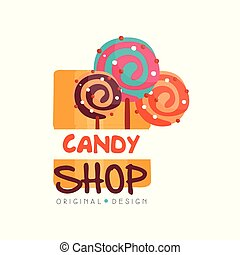 Candy hop logo design template, sweet store badge vector Illustration on a white background
