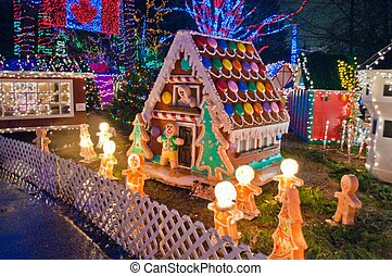Candy house with Christmas lights