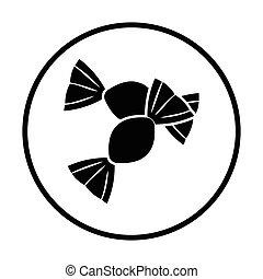 Candy icon. Thin circle design. Vector illustration.