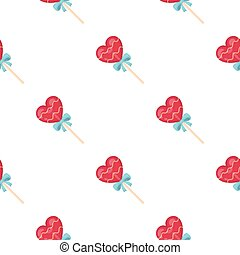 Candy icon in cartoon style isolated on white background. Romantic pattern stock vector illustration.