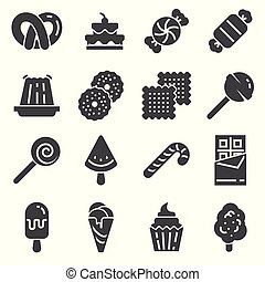 Candy icon set. 16 candy icons for web design