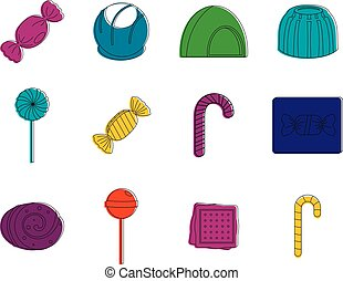Candy icon set, color outline style