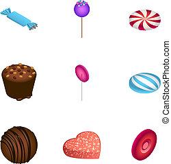 Candy icon set, isometric style