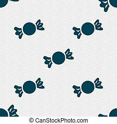 candy icon sign. Seamless pattern with geometric texture. Vector