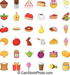 Candy icons set, cartoon style