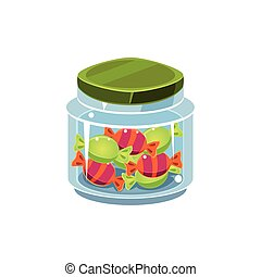 Candy In Transparent Jar Isolated Flat Vector Icon On White...