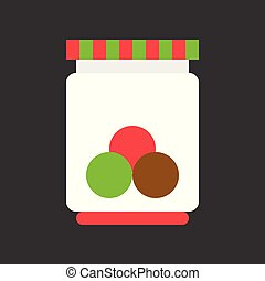 candy jar Christmas theme flat icon