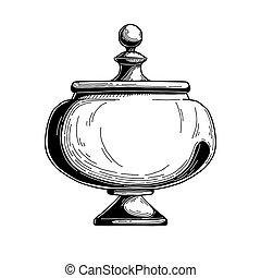 Candy jar, sugar bowl. Realistic sketch. Isolated...