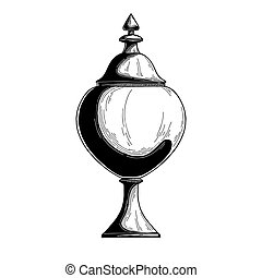 Candy jar, sugar bowl. Realistic sketch. Isolated illustration on white background. Vector
