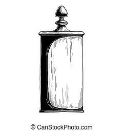 Candy jar sugar bowl. Realistic sketch. Vector
