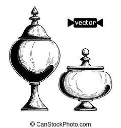 Candy jar, sugar bowl. Realistic sketch. Vector