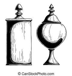 Candy jar sugar bowl. Realistic sketch. Vector illustration...