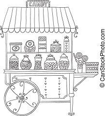 candy., kiárusítás, kordé