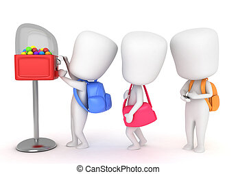 Candy Kid - 3D Illustration of Kids Buying Candies