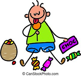 candy kid - little boy indulging in some candy treats -...