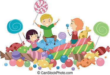 Candy Kids - Illustration of Kids Surrounded by Candies