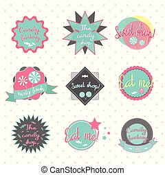 Candy labels pastry shop vector illustration - Candy labels...