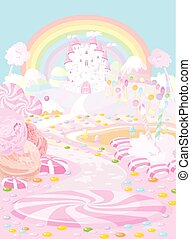 Candy land - Illustration pastel colored a fairy kingdom