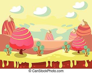 Candy Land Vector - Cartoon fairy tale landscape. Candy land...