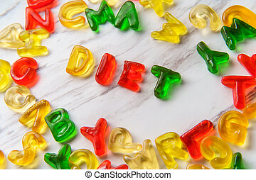 Candy Letters Spell Diet