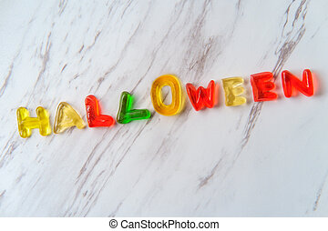 Candy Letters Spell Halloween
