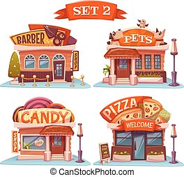 Candy, Pets shop, Pizzeria and barbershop. Vector set. ...