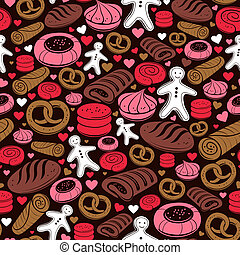 Candy seamless pattern. Set of sweet bakery icons