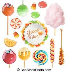 Candy set. Swirl caramel. Cotton candy. Sweet lollipop. 3d...
