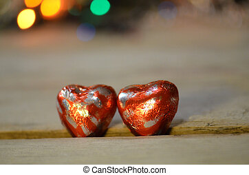 Candy shaped heart in red foil