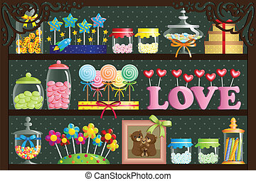 A vector illustration of a colorful candy at candy shop
